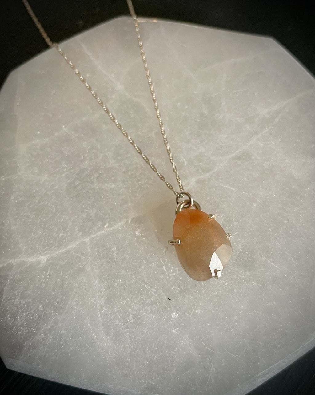 Self-Love Peach Moonstone Necklace - Fire + Mineral