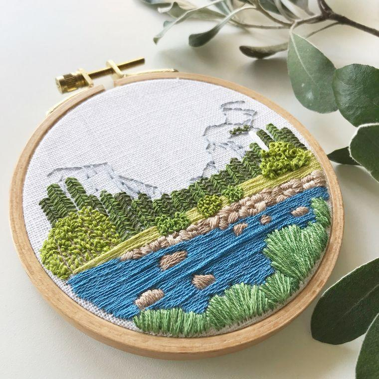 Yosemite Valley Embroidery Kit - Fire + Mineral