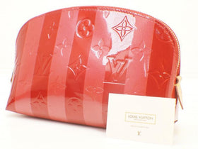 Auth Pre-owned Louis Vuitton Vernis Rayures Striped Pomme D'amour Pochette Cosmetic M91721 190523