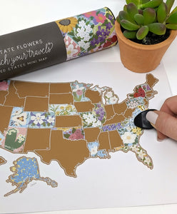 Scratch Your Travels US State - Flowers Map