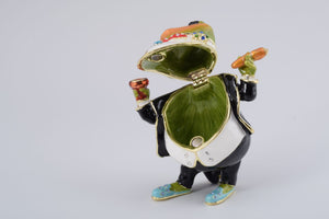 Business Frog Holding a Cigar Trinket box