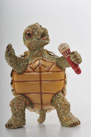 Turtle Singing with a Microphone Trinket Box