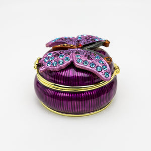 Purple Decorated Trinket Box with Butterfly
