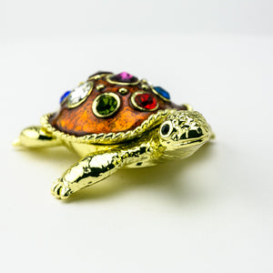 Golden Turtle Decorated with Colorful Crystals Trinket Box