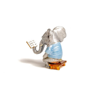 Elephant Sitting And Reading A Book Shape Trinket Box
