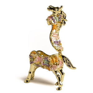 Golden Horse Decorated with butterflies-Trinket Box
