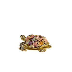 Golden Turtle Decorated with butterflies Trinket Box