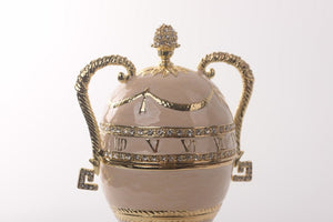 Pink Faberge Egg with Gold Handles - Trinket Box