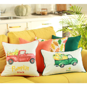 Fall Season-Thanks giving Red Pumpkin Truck Pillow Cover