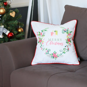 Christmas Wreath with flowers and Text-Decorative Pillow Cover