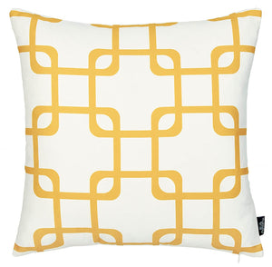Geometric Yellow Squares Throw Pillow Cover