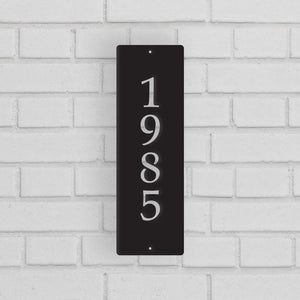 Metal House Address Sign - Vertical Style