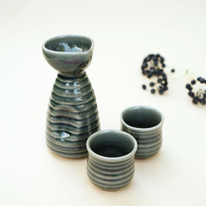 Handmade Green Sake Set With 2 Cups