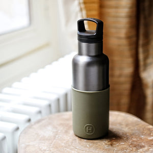 Titanium grey Army Green 16 Oz Water bottle
