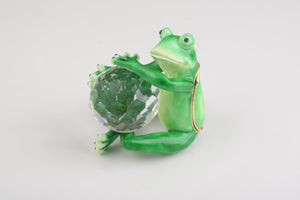 Green Frog With Crystal Ball - Trinket Box