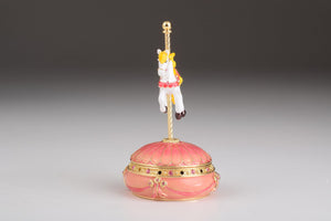 Pink Wind Up Musical Carousel Trinket Box