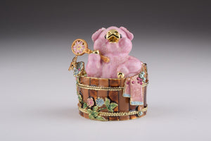 Pig Taking a Bath - Trinket Box