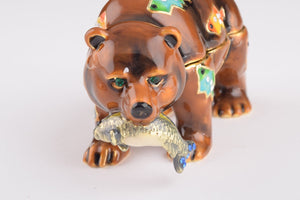 Brown Bear Holding Fish - Trinket Box