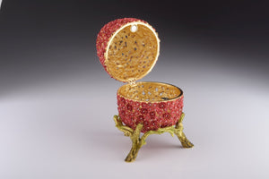 Red Flowers Faberge Egg Trinket Box