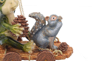 Frog and Squirrel on Wooden Car Trinket Box