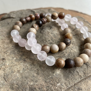 Rose Quartz and Wood Opal Bracelet
