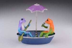 Two Frogs in a Boat Trinket Box