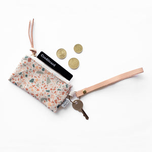 Leather Key Chain with Card Coin Pouch