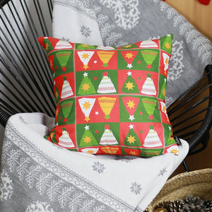 Printed Merry Christmas Tree Printed Pillow Cover