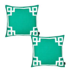 Geometric Green & White Square Throw Pillow Cover