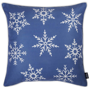 Blue Snowflakes Print Square Shape Pillow Cover