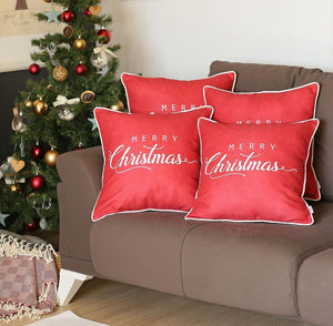 Merry Christmas Text Printed Pillow Cover