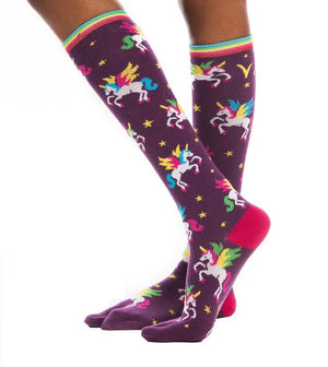 Flip-Flop Socks-Flying Unicorn Print