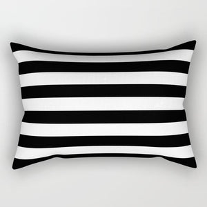 Black Lines Rectangle Pillow