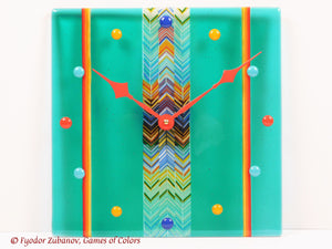 Fused Glass Wall Clock - Sweet Candies in Mint Juice