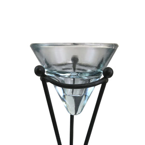 Glass Candle Holder On Metal Pedestal