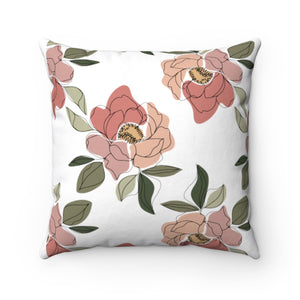 Floral Print Square Pillow Cover