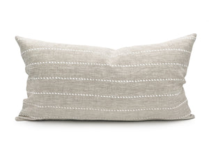White Stripe on Natural Linen Lumbar Throw pillow