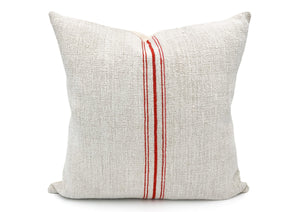 Vintage grain sack Five Tomato Red Stripes Pillow Cover