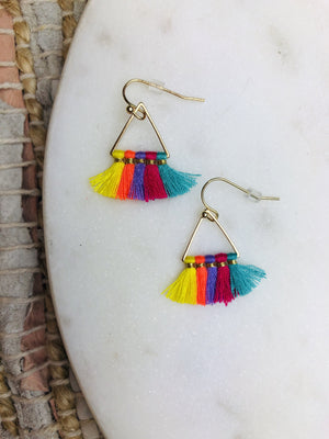 Mini Triangle Cotton Tassel Earring