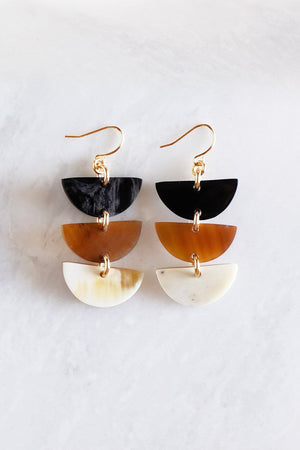 Triple Crescent Buffalo Horn Earrings