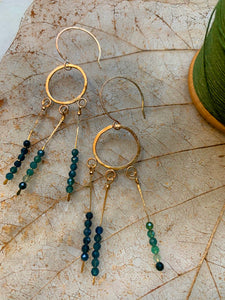 Blue/Green Tourmaline Mermaid Earrings