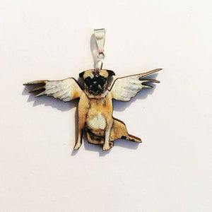 Angel Pug Pendant Necklace