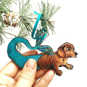 Mermaid Dachshund Holiday Ornament
