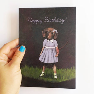 Happy Birthday Dachshund Girl Greeting Card