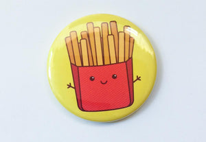 Cute Fries Magnet, Pin or Pocket Mirror