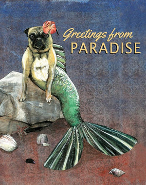 Mermaid Pug Postcard