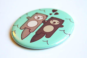 Otters Print Refrigerator Magnet, Pin, or Pocket Mirror
