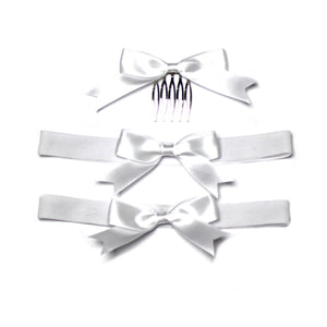 Satin Tye Leg Garters with a Matching Hair Bow Comb