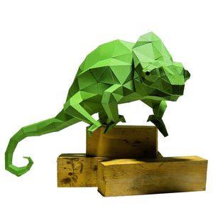 3D Pre Cut and Folded Chameleon Model Paper Craft