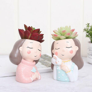 Cute Girls Shaped Succulent Cactus Plant Pot